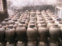 Baijiu is stored in ceramic jars